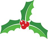 Holly berry leaves icon. Christmas symbol. Vector illustration.