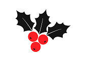 Holly berry vector icon Christmas symbol, holiday plant isolated on white background. Red and black colors. Winter illustration
