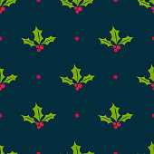 Holly berry vector seamless pattern. Christmas background with mistletoe berries, green leaves, dots on black backdrop. Traditional winter holiday symbol. Elegant texture. Repeat decorative design