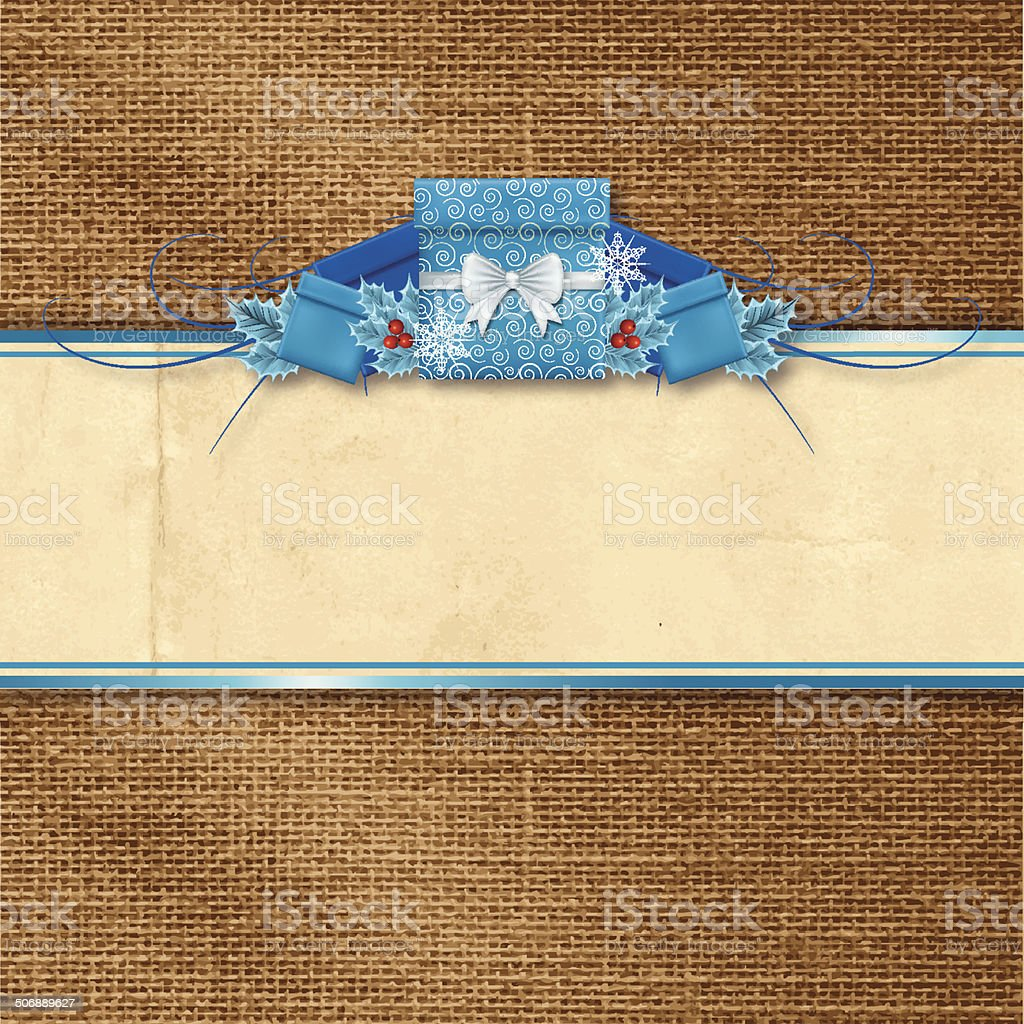 Holly Christmas Gifts Banner On Burlap Background vector art illustration