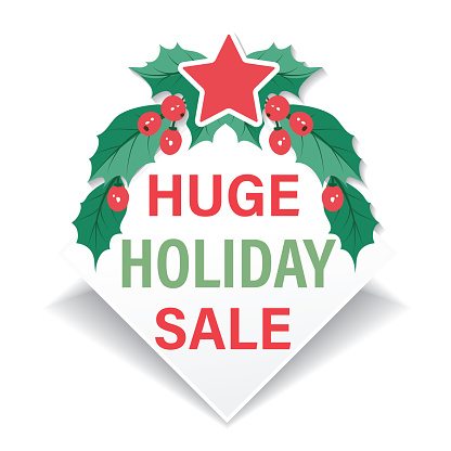 Holly Christmas Sale Store Banners Stickers
