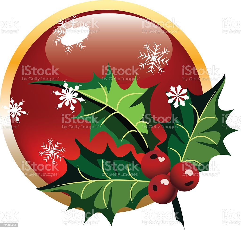 Holly Decorative Sprig on Button - Red with Snowflakes royalty-free stock vector art