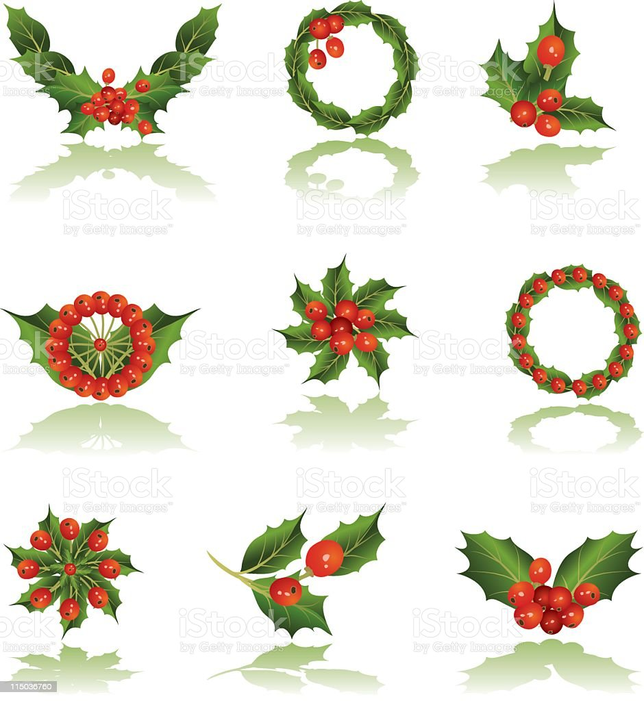 Holly Elements royalty-free stock vector art