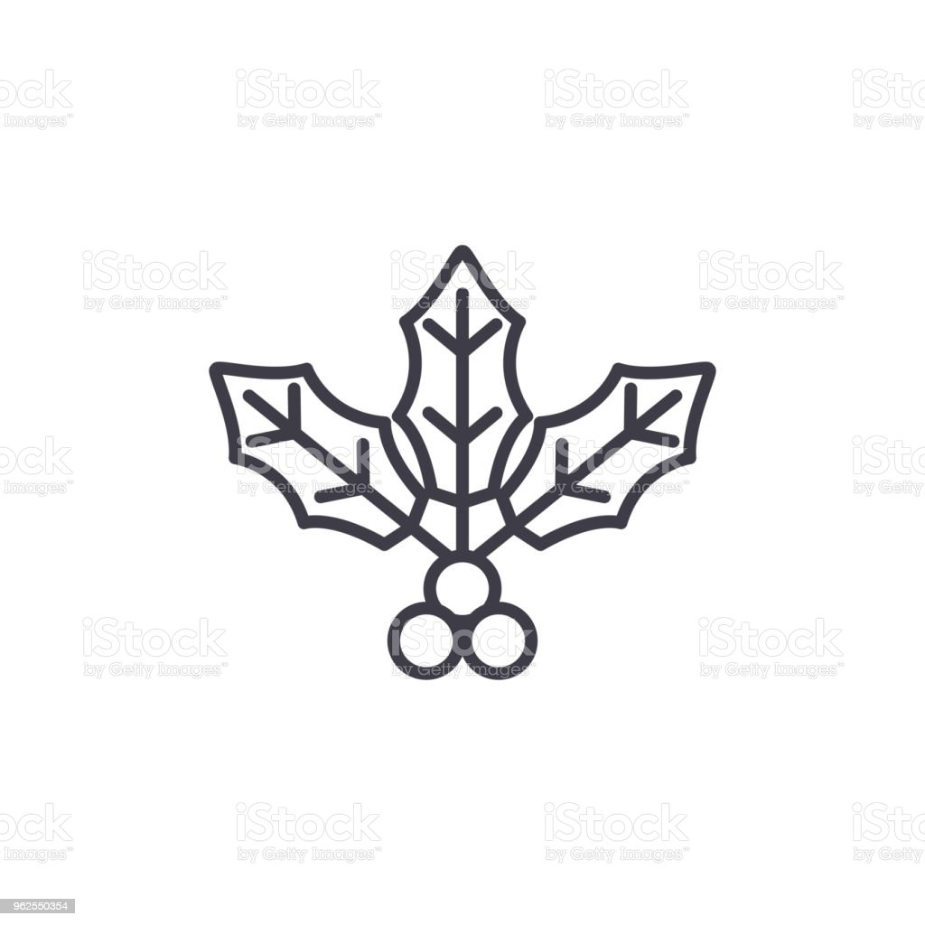 Holly flower line icon concept. Holly flower flat vector sign, symbol, illustration. - Royalty-free Art stock vector