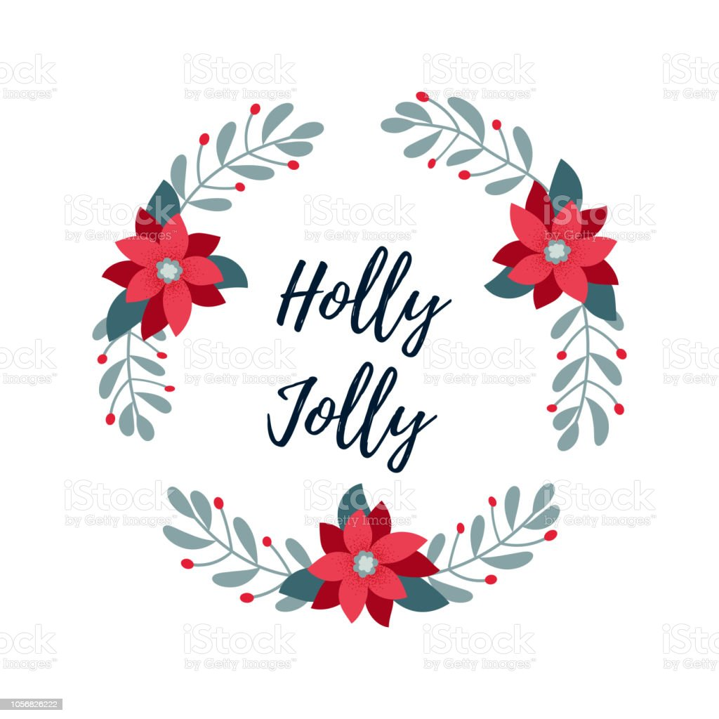 Holly Jolly Banner Christmas Wreath Merry Christmas And Happy New Year  Greeting Card