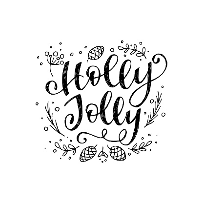 Holly Jolly calligraphic inscription clipart