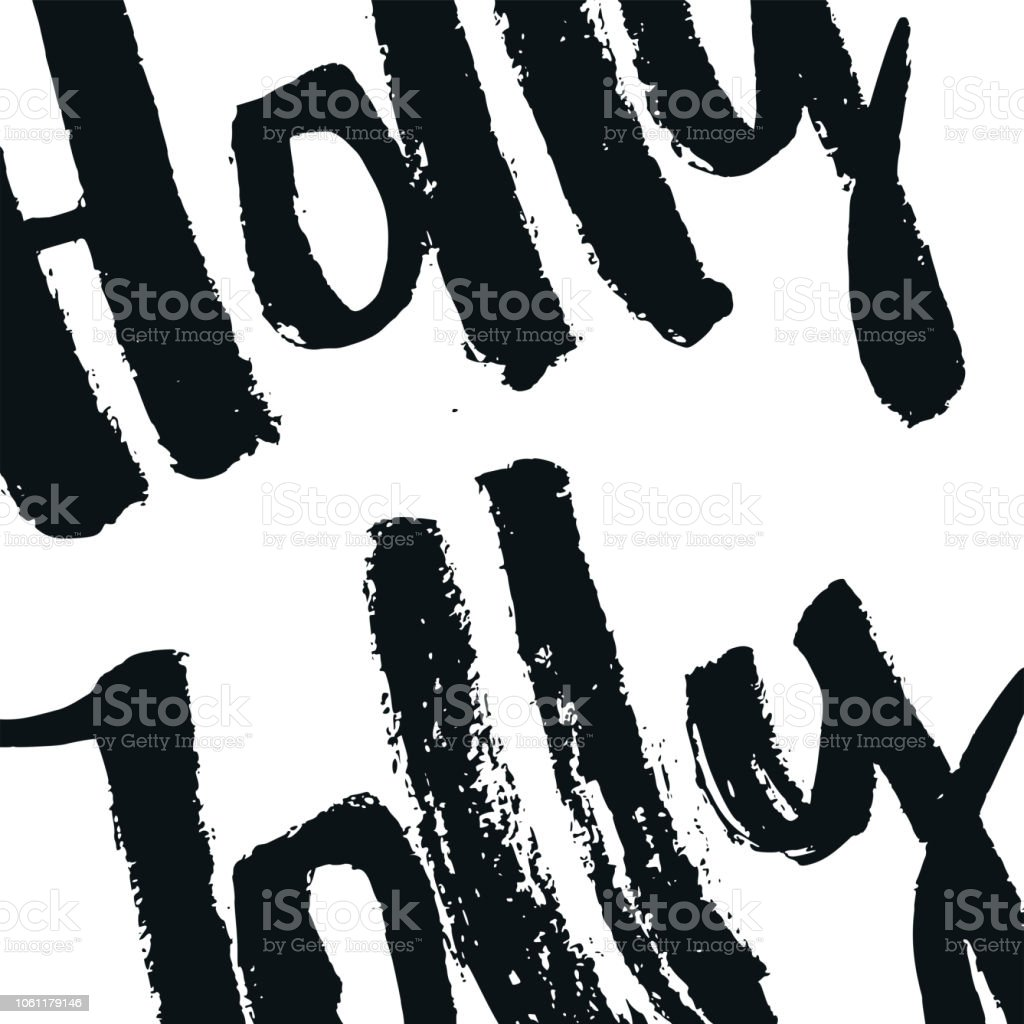 Holly Jolly Christmas And New Year Card With Hand Drawn Lettering ...