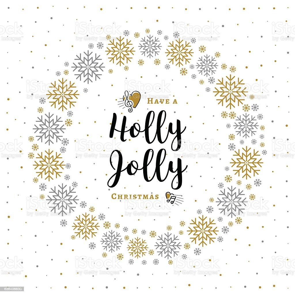holly jolly christmas card minimalist style wreath snowflakes white background royalty free - How To Sign A Christmas Card