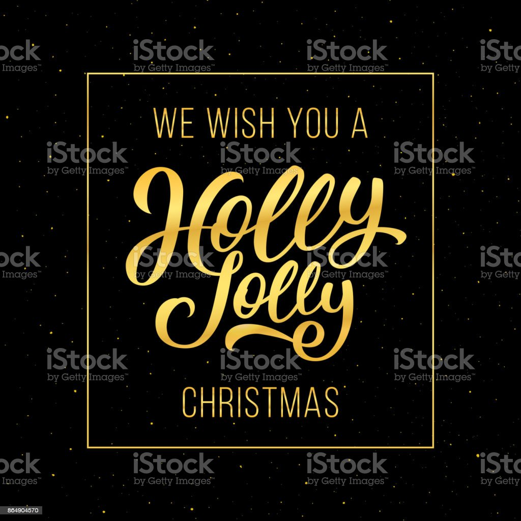 Holly Jolly Christmas greeting card vector art illustration