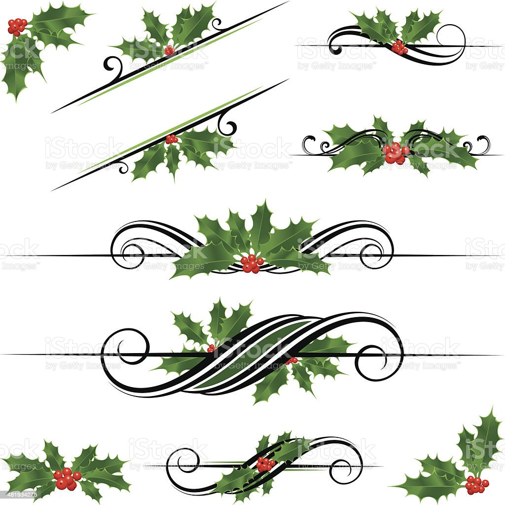 Holly motifs royalty-free holly motifs stock vector art & more images of angle