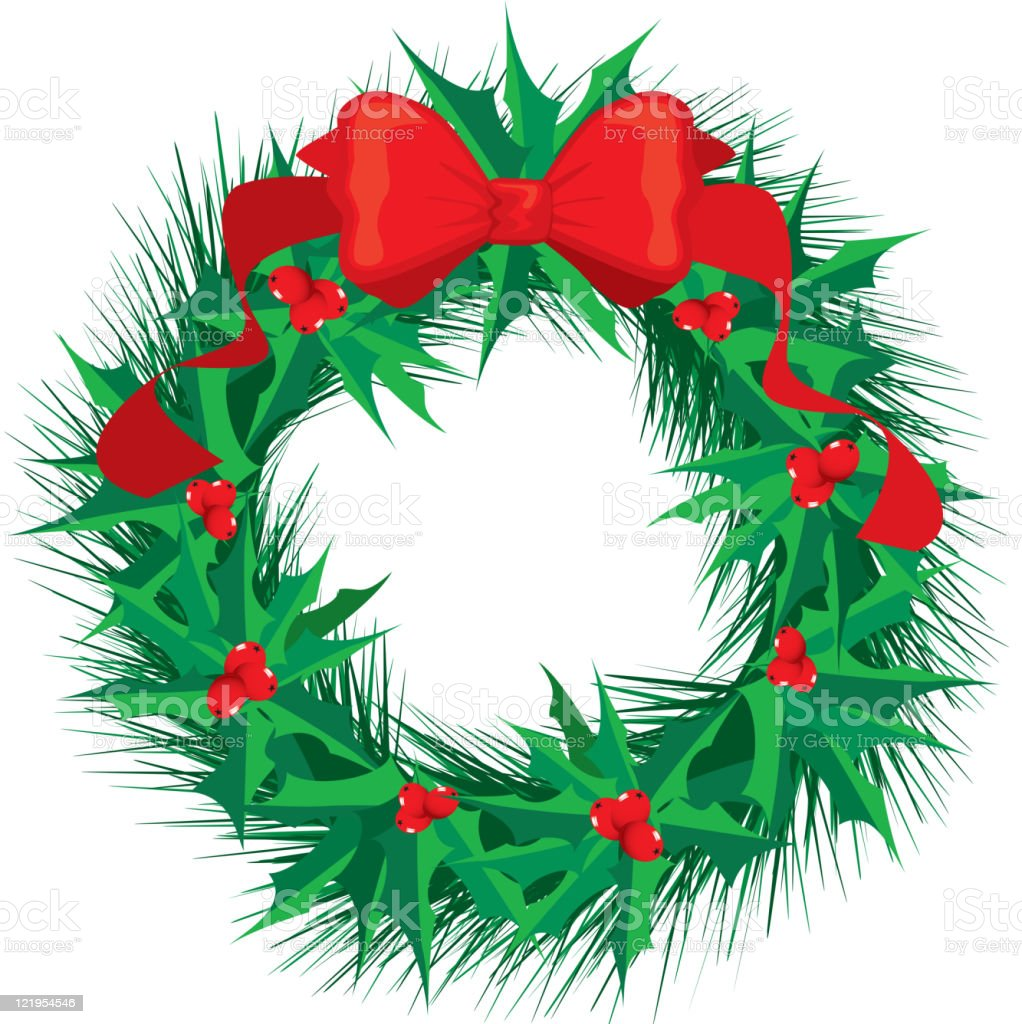 Holly Wreath with Red Bow royalty-free stock vector art