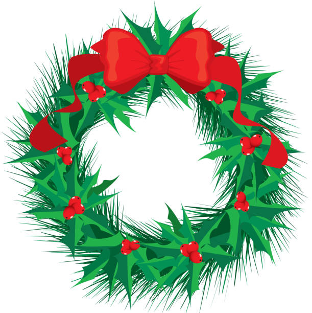 Holly Wreath with Red Bow vector art illustration