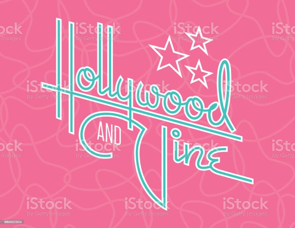 Hollywood y vid Vector Retro diseño con estrellas. - ilustración de arte vectorial
