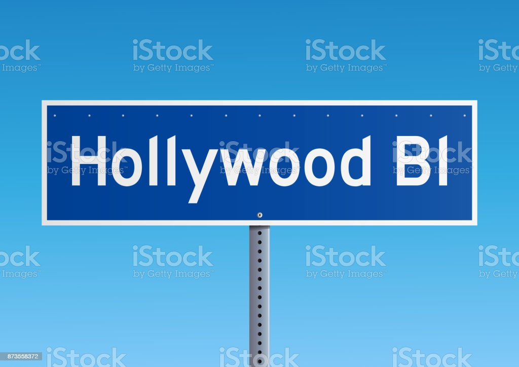 Hollywood Bl road sign vector art illustration