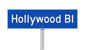 Vector illustration Hollywood Boulevard blue road sign