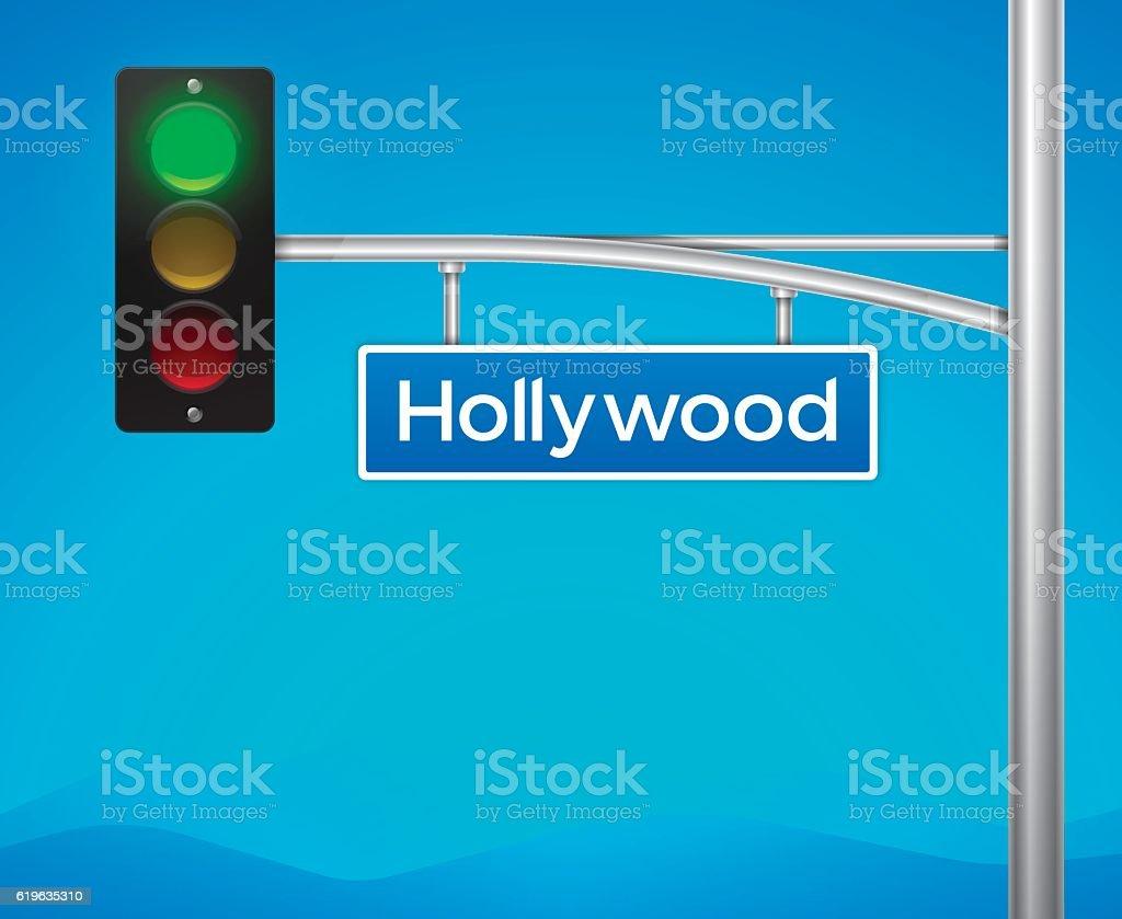 Hollywood Boulevard Street Intersection Sign - ilustración de arte vectorial