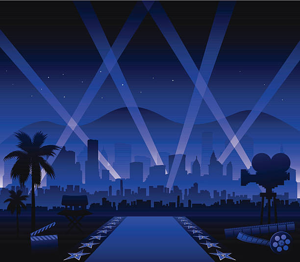 Hollywood Cinema Movie Elements Vector Art Illustration