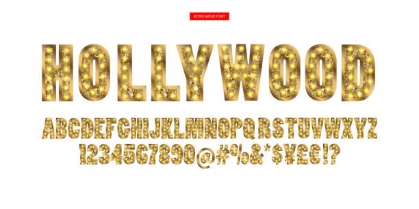illustrazioni stock, clip art, cartoni animati e icone di tendenza di hollywood. color golden alphabet with show lamps. - christmas movie