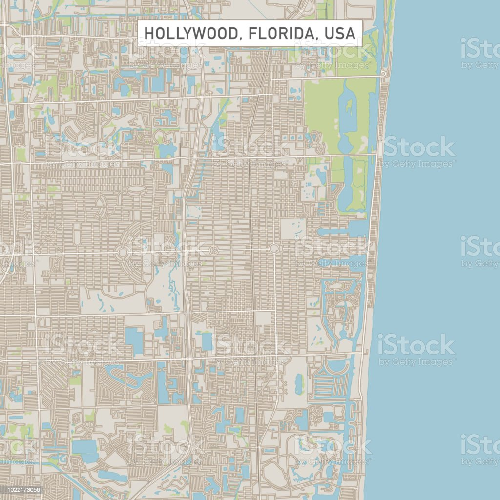 Hollywood Florida Map.Hollywood Florida Us City Street Map Stock Vector Art More Images