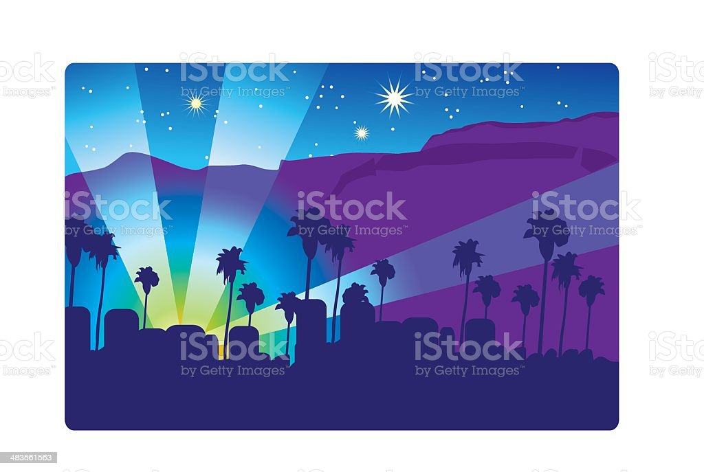 Cityscape Hollywood Sign Spotlight Star Shape Beverly Hills