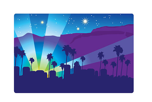 Hollywood Hills 2 Vector Art Illustration