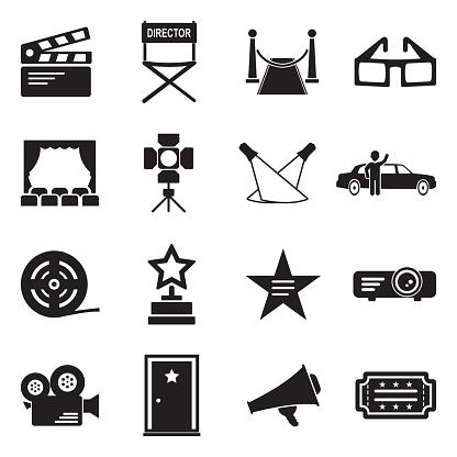 Hollywood Icons. Black Flat Design. Vector Illustration.