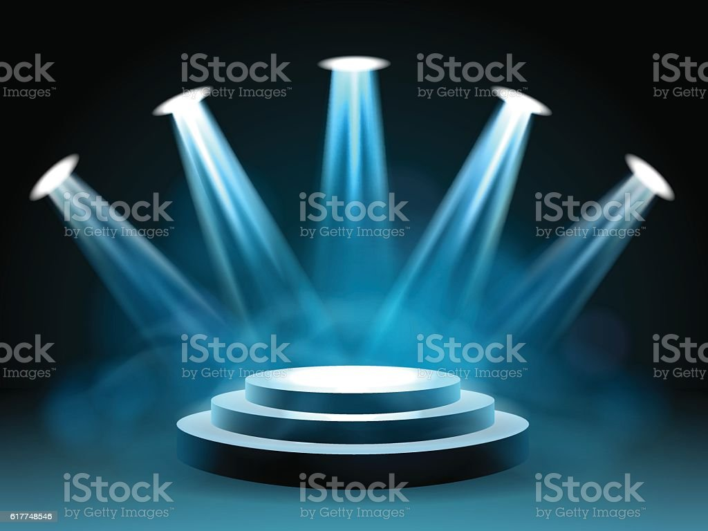 Hollywood Lighting Stage For Performance Stock Vector Art More