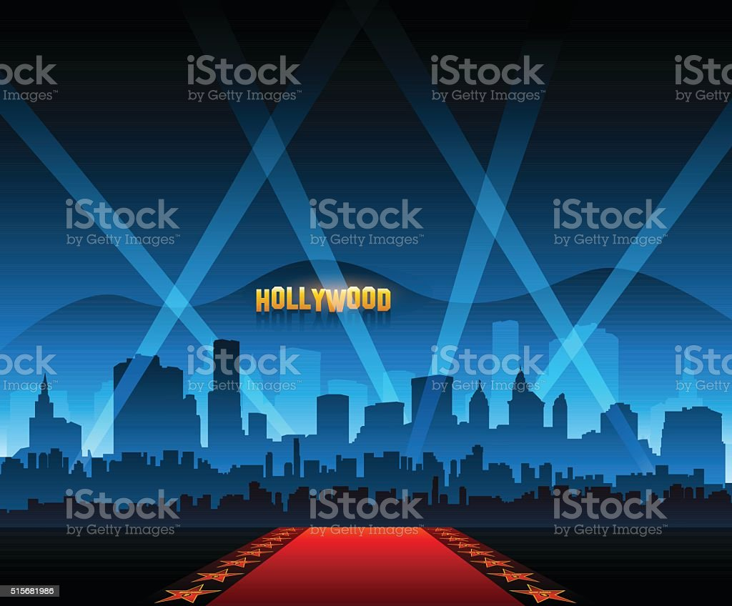 hollywood movie red carpet background and city stock vector art