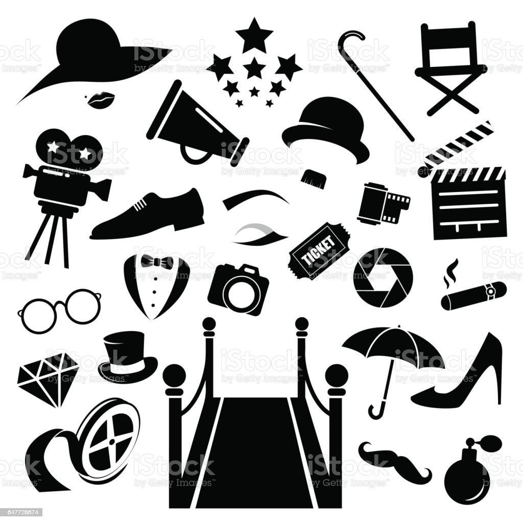Hollywood Vektor Icon-Set. – Vektorgrafik