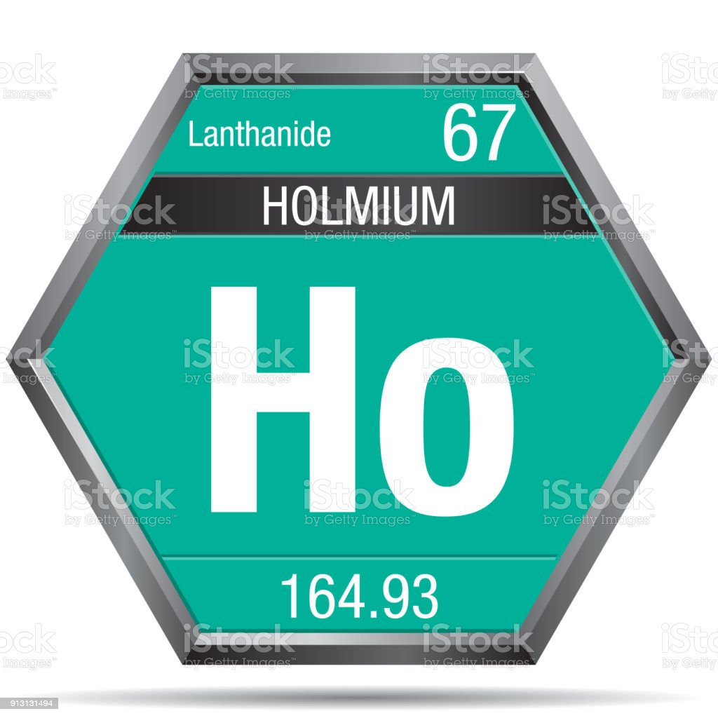 Holmium Symbol In The Form Of A Hexagon With A Metallic Frame