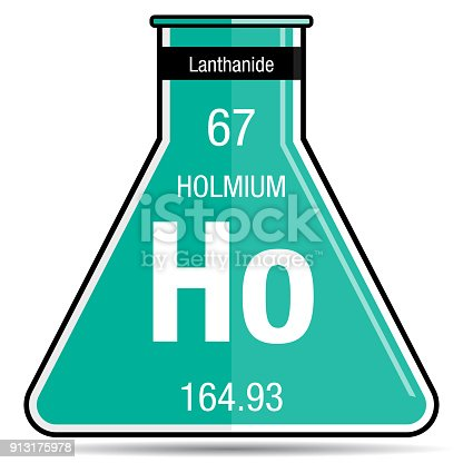Holmium Symbol On Chemical Flask Element Number 67 Of The Periodic