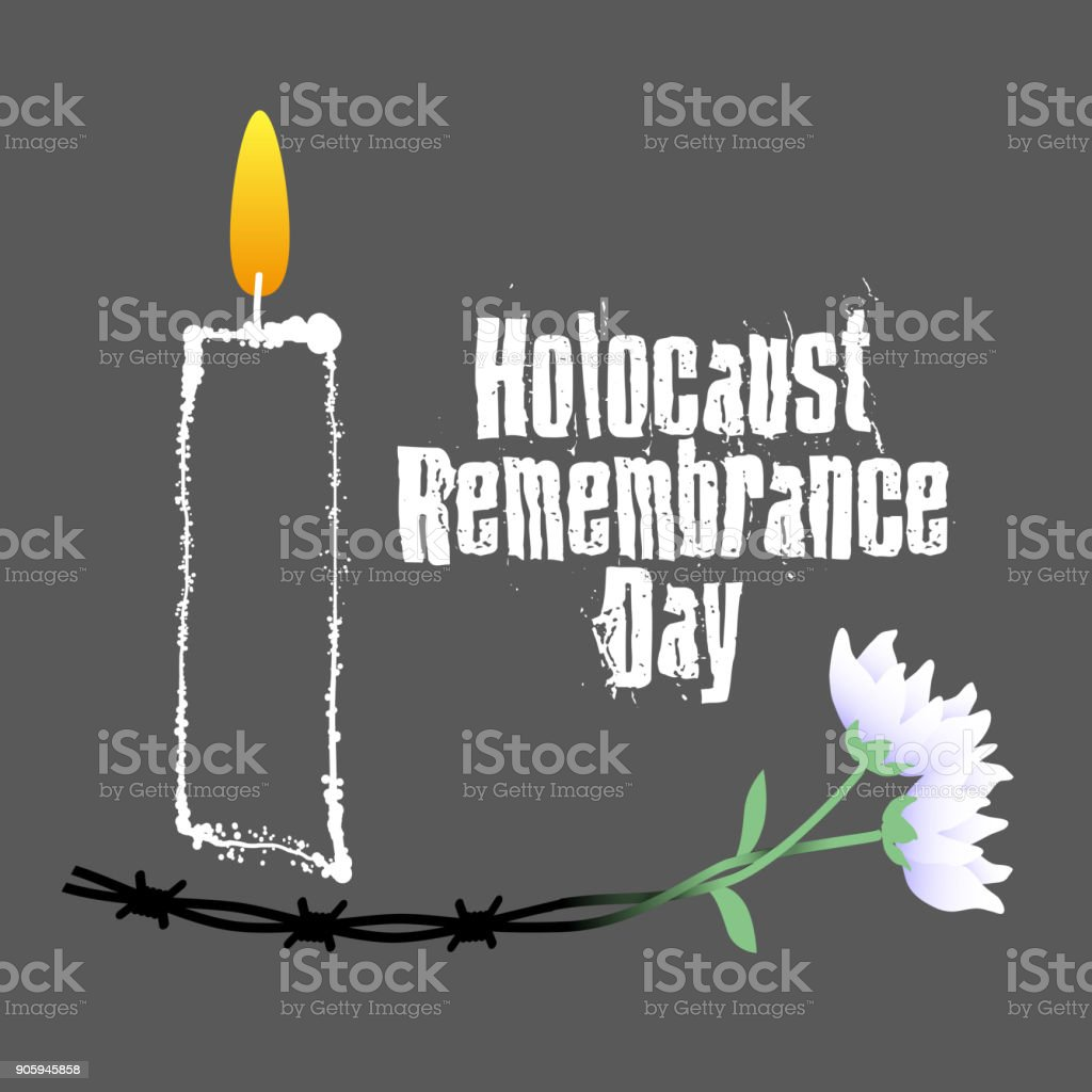 Holocaust Remembrance Day Barbed Wire Candle And Flowers Holocaust ...