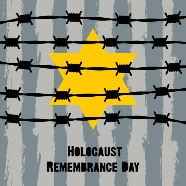 Holocaust Remembrance Day. January 27. Holocaust Remembrance Day. Concentration Camps. Yellow Star of David. This David's Star was used in Ghetto and Concentration Camps. Vector illustration Holocaust Remembrance Day. January 27. Holocaust Remembrance Day. Concentration Camps. Yellow Star of David. This David's Star was used in Ghetto and Concentration Camps. Vector illustration genocide stock illustrations