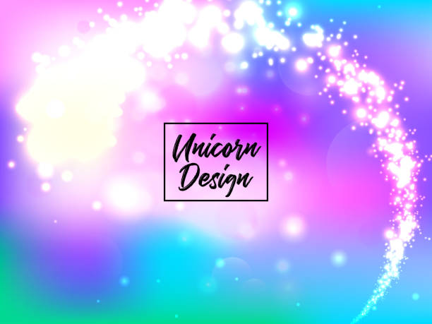 hologen colorful abstract background. cute galaxy fantasy bright candy background - rainbow glitter background stock illustrations