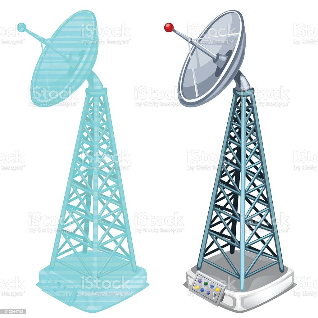 Hologram antenna tower, two isolated items