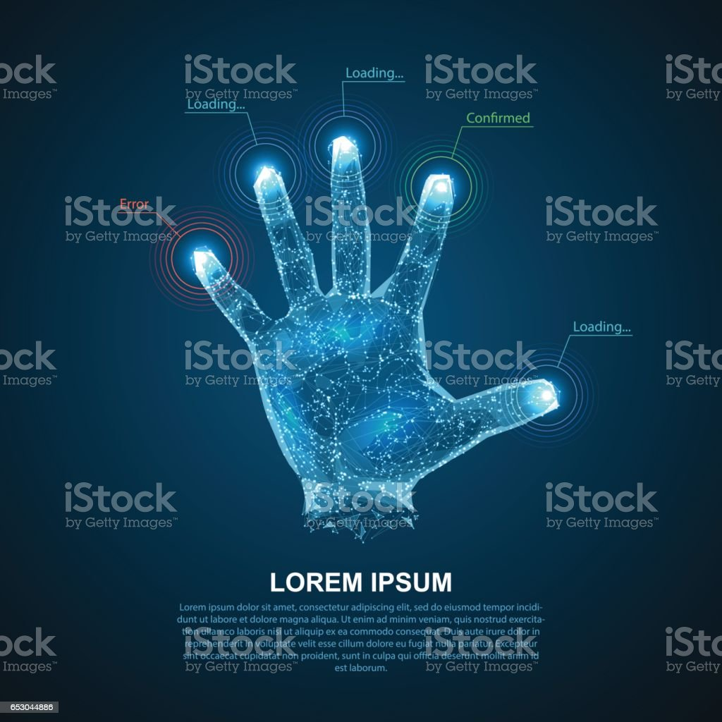 Hologram hands of lines and points. Scanning fingers. Personal identification. vector art illustration