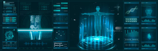 Hologram Human anatomy and skeleton. Abstract health hud ui interface element of medical science Hologram Human anatomy and skeleton. Abstract health hud ui interface element of medical science. Virtual Body Hi Tech Diagnostic Panel, Medicine, Clinic Researchers - diagnostic equipment stock illustrations