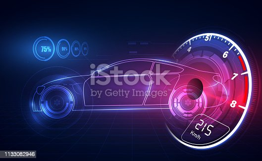 istock Hologram in HUD UI style. Futuristic car service, scanning and auto data analysis,Virtual Graphical Interface . Vector  illusatration 1133082946
