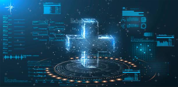 ilustraciones, imágenes clip art, dibujos animados e iconos de stock de un holograma de una cruz sobre un fondo azul en estilo bajo poly alambre. interfaz de usuario de hud - equipo médico