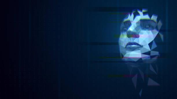 bildbanksillustrationer, clip art samt tecknat material och ikoner med hologram med ett mänskligt ansikte - kvinna ansikte glow