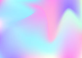 Gradient mesh abstract background. Plastic holographic backdrop with gradient mesh. 90s, 80s retro style. Iridescent graphic template for brochure, banner, wallpaper, mobile screen.