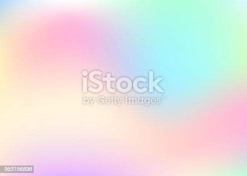 Hologram abstract background. Bright gradient mesh backdrop with hologram. 90s, 80s retro style. Iridescent graphic template for brochure, banner, wallpaper, mobile screen.