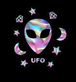 holographic alien t-shirt design.