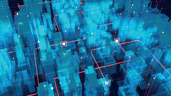 Holographic city map. Futuristic city. Blue neon silhouette city. Digital cityscape background. Business technology concept. Vector stock illustration.