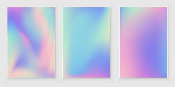 ilustrações de stock, clip art, desenhos animados e ícones de holographic foil  gradient  iridescent   abstract background set - hologram