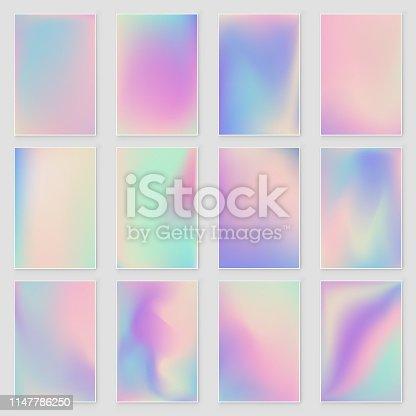Holographic foil gradient iridescent background set. Empty template