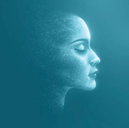 Holographic image of the face of a woman