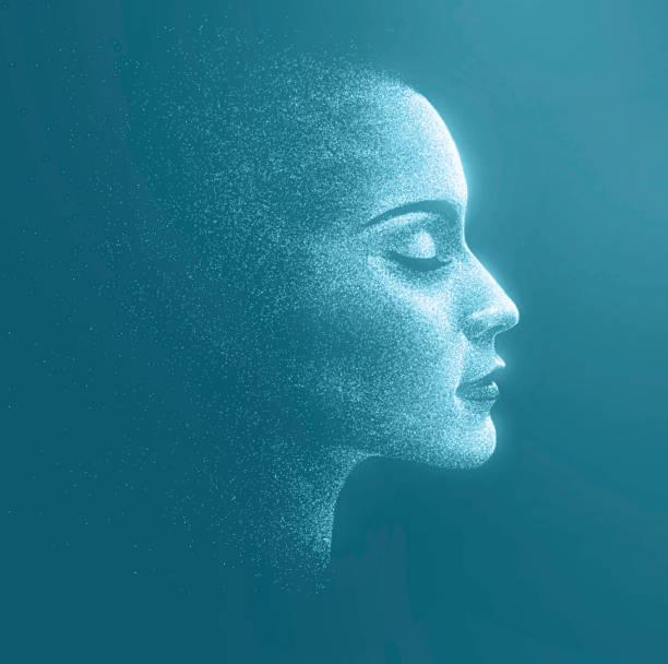 bildbanksillustrationer, clip art samt tecknat material och ikoner med holographic image of the face of a woman - kvinna ansikte glow