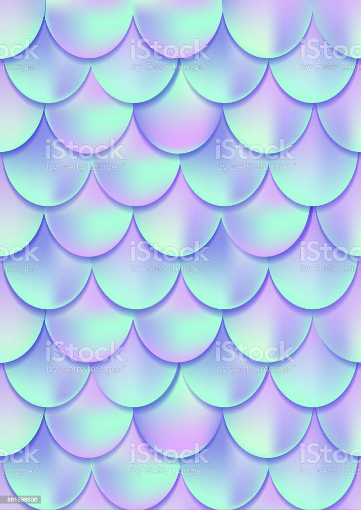 Holographic mermaid tail card or background. Mesh Gradient mermaid card for party. Mermaid card decor element. vector art illustration