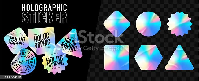 istock Holographic stickers. Hologram labels of different shapes. Colored blank rainbow shiny emblems, label. Paper Stickers. Vector illustration 1314723453